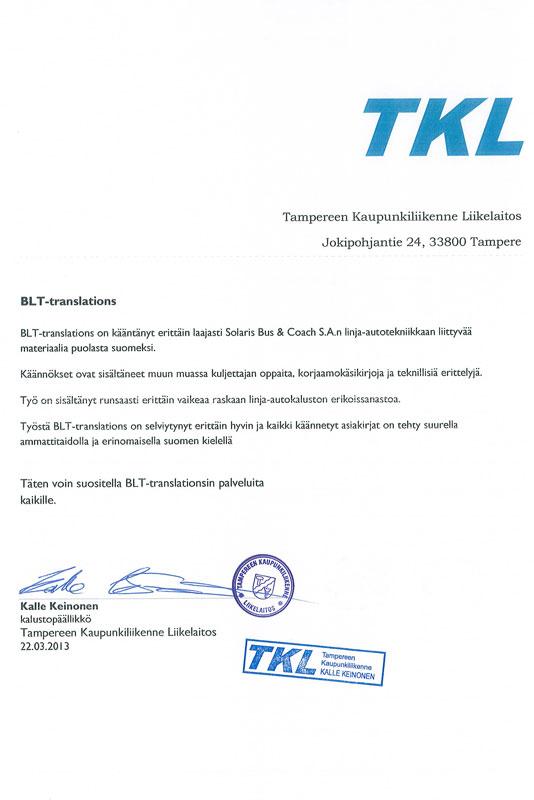 wykonanie tłumaczeń technicznych dla TKL
